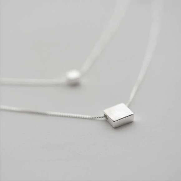 Jewelry - 925 Sterling Silver Double Layer Square Necklace